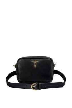 Hidesign Elaine 01 Black Solid Leather Waist Bag