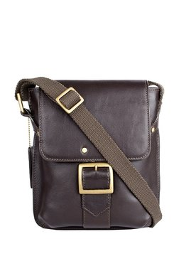 Hidesign Vespucci 01 Dark Brown Solid Leather Flap Sling Bag