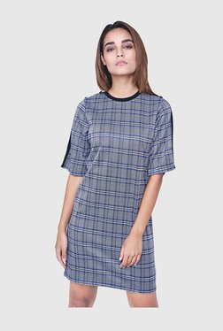 AND Blue & Grey Checks Above Knee Dress