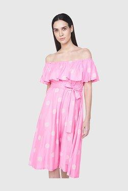 AND Pink Polka Dot Knee Length Dress