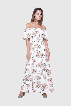 AND White Floral Print Maxi Dress