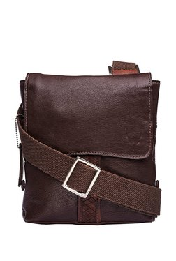 Hidesign Camaro 04 Dark Brown Solid Leather Flap Sling Bag