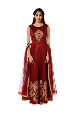 afe9bb119 Soch Maroon Embroidered Suit Set