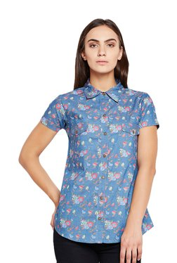 MEEE Blue Cotton Floral Print Shirt