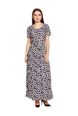 MEEE Black Floral Print Maxi Dress