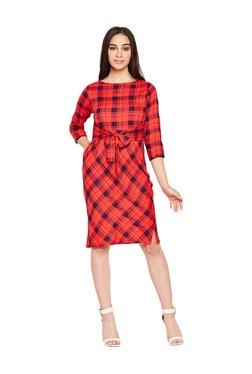 MEEE Red Plaid Pattern Knee-Length Dress