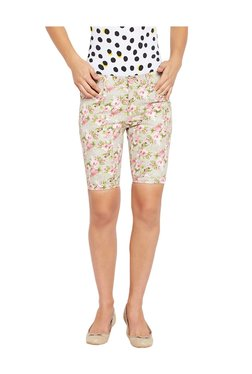 MEEE Green Cotton Floral Print Shorts