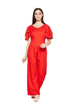 MEEE Red Short Sleeves Jumpsuit