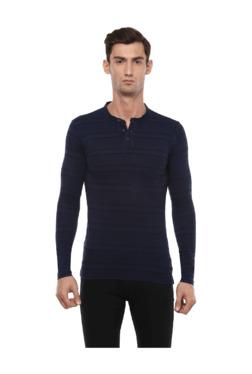 Peter England Navy Slim Fit Henley T-Shirt