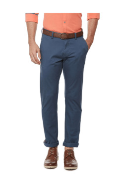 Allen Solly Blue Slim Fit Flat Front Trousers - Mp000000003908750