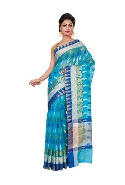 Bunkar Blue Cotton Zari Work Saree With Blouse
