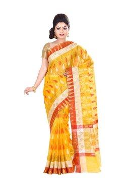 Bunkar Yellow & Gold Cotton Zari Work Saree With Blouse