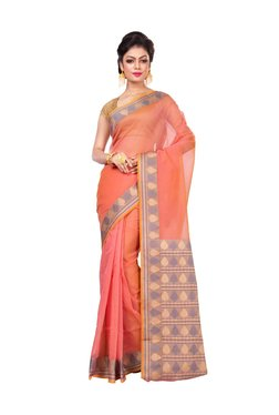 Bunkar Pink Zari Work Saree With Blouse - Mp000000003909532