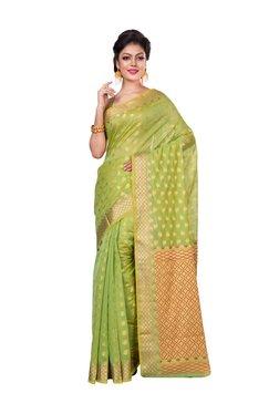 Bunkar Green Floral Print Saree With Blouse - Mp000000003909534