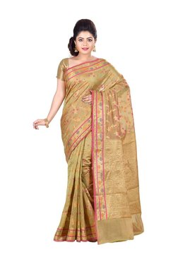 Bunkar Green Floral Print Saree With Blouse