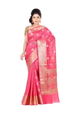 Bunkar Pink Zari Work Saree With Blouse - Mp000000003909559