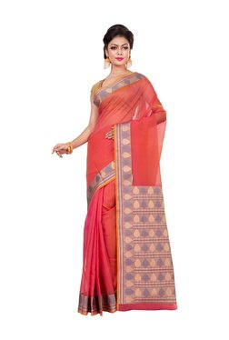 Bunkar Pink Zari Work Saree With Blouse