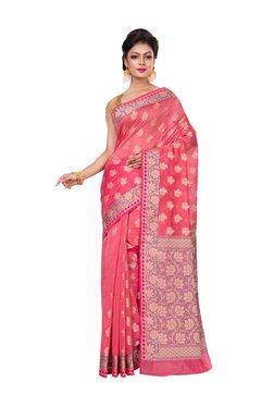 Bunkar Peach Cotton Floral Print Saree With Blouse