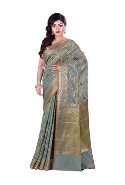 Bunkar Teal Green Floral Print Saree With Blouse