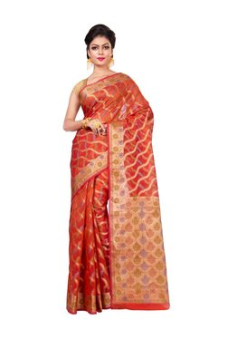 Bunkar Orange Zari Work Saree With Blouse