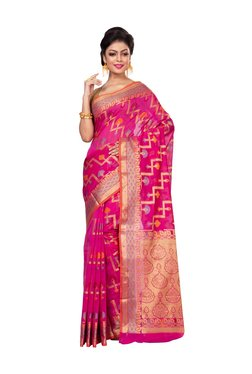 Bunkar Pink Zari Work Saree With Blouse - Mp000000003910572