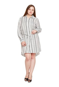 Oxolloxo Curves White Striped Above Knee Shirt Dress