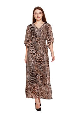Oxolloxo Brown Printed Maxi Dress