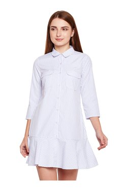 Oxolloxo White Striped Above Knee Shirt Dress