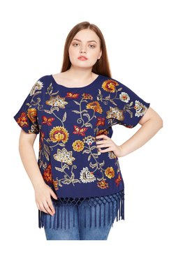 Oxolloxo Curves Blue Floral Print Top