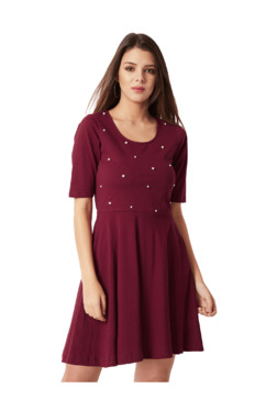 Miss Chase Maroon Above Knee Skater Dress
