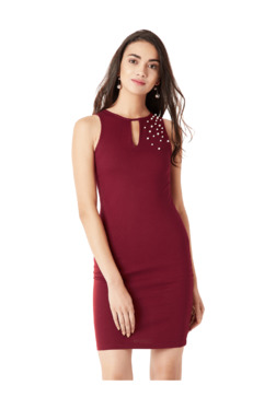 Miss Chase Maroon Above Knee Bodycon Dress