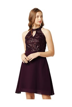 Miss Chase Wine Embellished Above Knee Skater Dress
