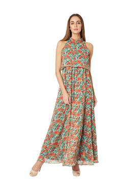 Miss Chase Green & Orange Floral Print Maxi Dress