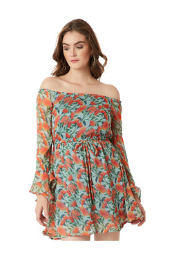 Miss Chase Green & Orange Floral Print Above Knee Skater Dress