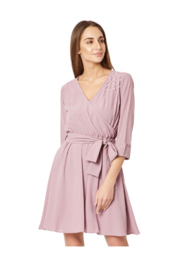 Miss Chase Purple Above Knee Skater Dress
