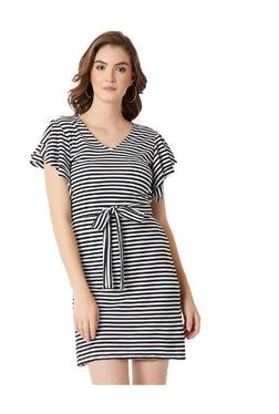 Miss Chase Black & White Striped Above Knee Shift Dress