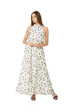 Miss Chase Off White Polka Dot Maxi Dress