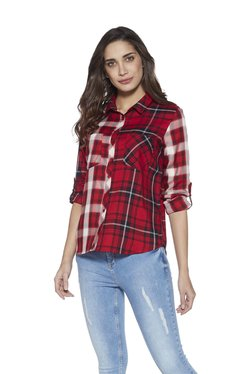 02a806fa5d LOV by Westside Red Ace High-Low Checked Blouse