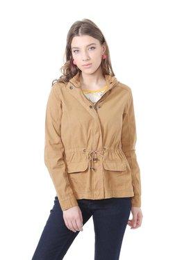 People Khaki Cotton Full Sleeves Jacket