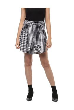 People Black Cotton Chequered Mini Skirt