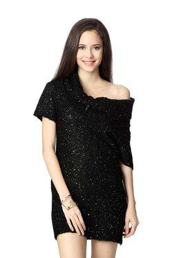 People Black Embellished One-Shoulder Dress
