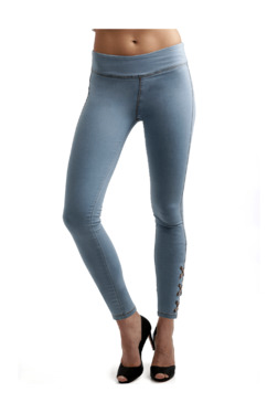 Miss Chase Light Blue Cotton Jeggings