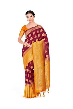 a40bb733c Mimosa Maroon Zari Kanjivaram Silk Saree With Blouse