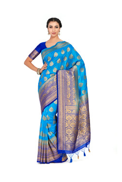 3287f8a643831d Mimosa Blue Zari Kanjivaram Silk Saree With Blouse