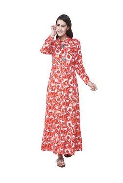 Global Desi Red & White Printed Maxi Dress