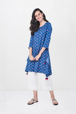Global Desi Dark Blue Floral Print Tunic