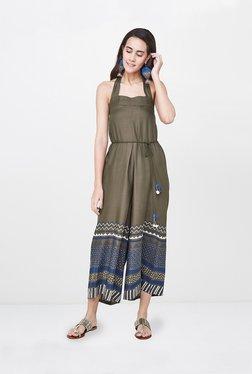 42b34784e562 Global Desi Olive Printed Jumpsuit