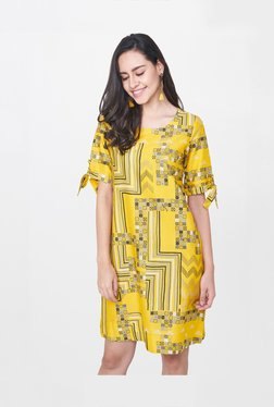 6650f0df77 Global Desi Mustard Printed Above Knee Dress