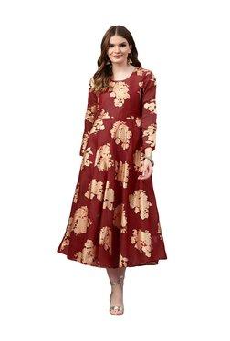Juniper Maroon Floral Print Maxi Dress