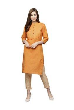 Juniper Yellow Cotton Mandarin Collar Kurti